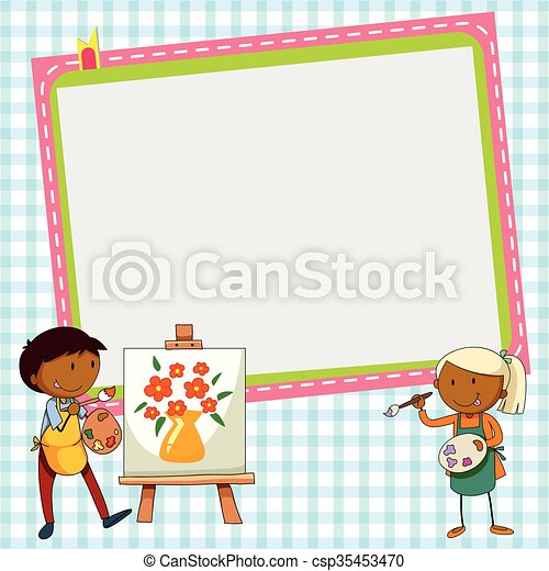 Frame design with two artists - csp35453470
