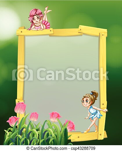 Frame design with two fairies - csp43288709
