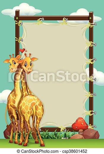 Frame design with two giraffes - csp38601452