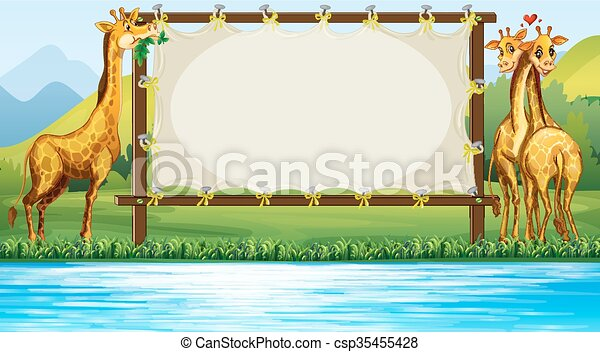 Frame design with two giraffes - csp35455428