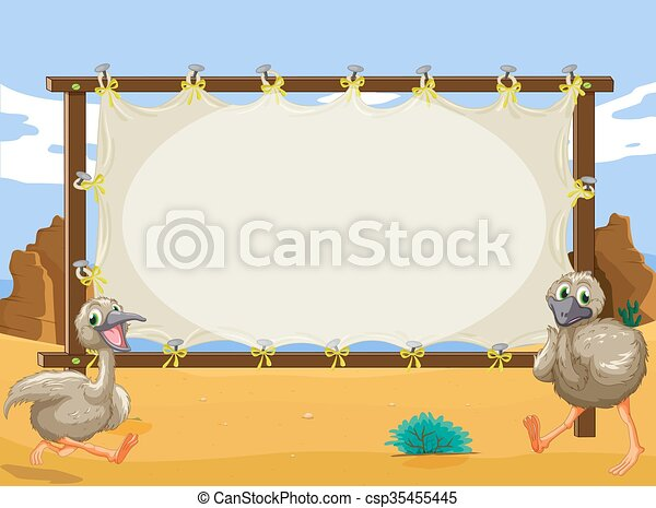 Frame design with two ostriches - csp35455445