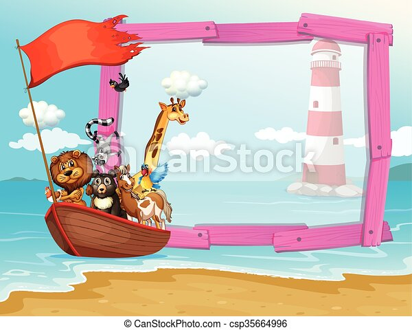 Frame design with wild animals in the boat - csp35664996