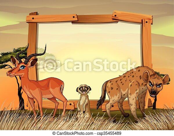 Frame design with wild animals in the field - csp35455489