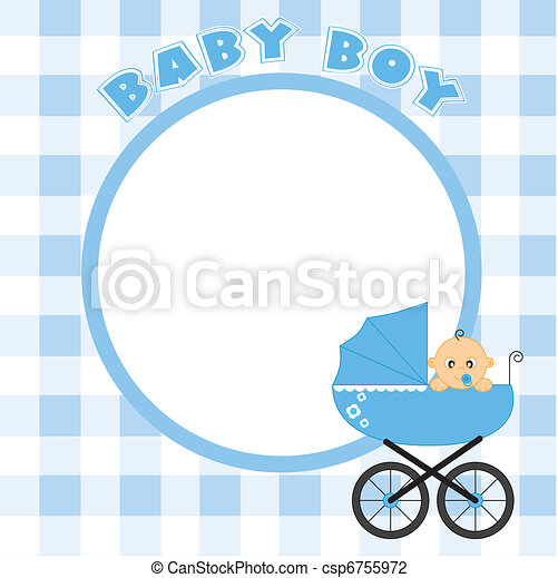 Frame for baby boy. Baby boy frame for text or photo.
