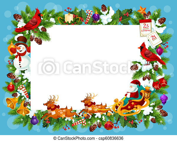 Frame for Christmas greeting card with blank space - csp60836636