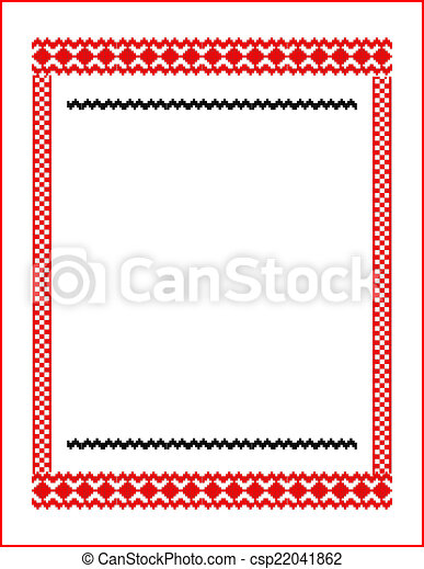 frame for cross-stitch embroidery red colors - csp22041862