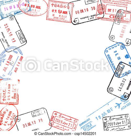 Frame from passport visa stamps. Frame from various passport visa ...