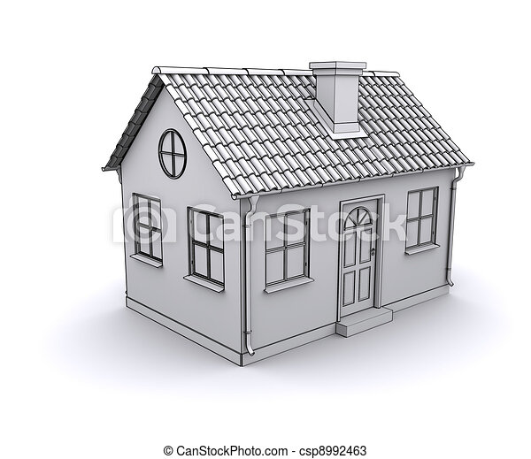 frame house 3d model of a white csp8992463 - House Drawing 3d