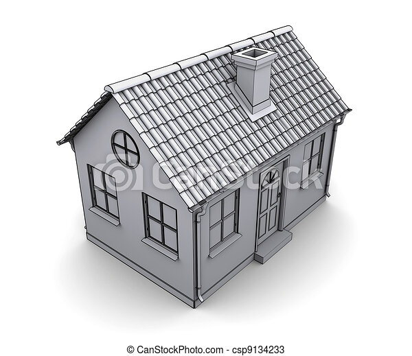 Frame House 3d Model Of A White   Csp9134233