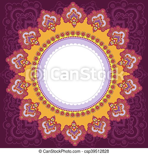 Vector illustration of indian style. frame in the indian style.