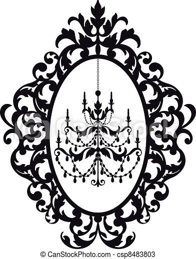 frame, kroonluchter, afbeelding - csp8483803