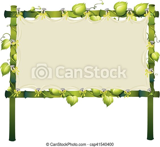 Frame made of bamboo with white cloth illustration.
