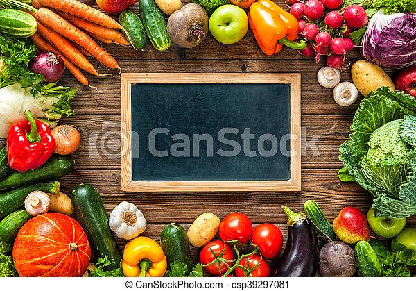 Frame of assorted fresh vegetables - csp39297081