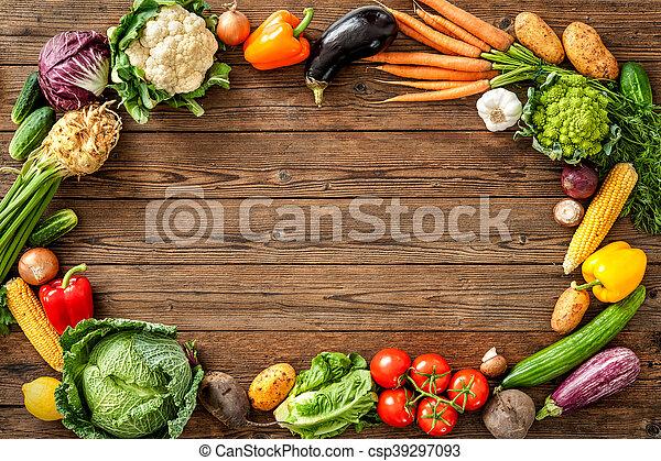 Frame of assorted fresh vegetables - csp39297093
