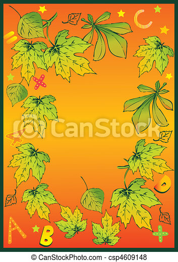 Frame of autumn leaves. - csp4609148