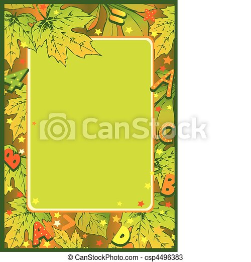 Frame of autumn leaves. - csp4496383