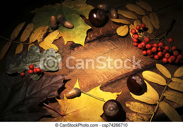 Frame of Autumn maple leaves on aged wood with copy space. Mockup for seasonal offers and holiday post card, top view - csp74266710