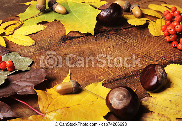 Frame of Autumn maple leaves on aged wood with copy space. Mockup for seasonal offers and holiday post card, - csp74266698