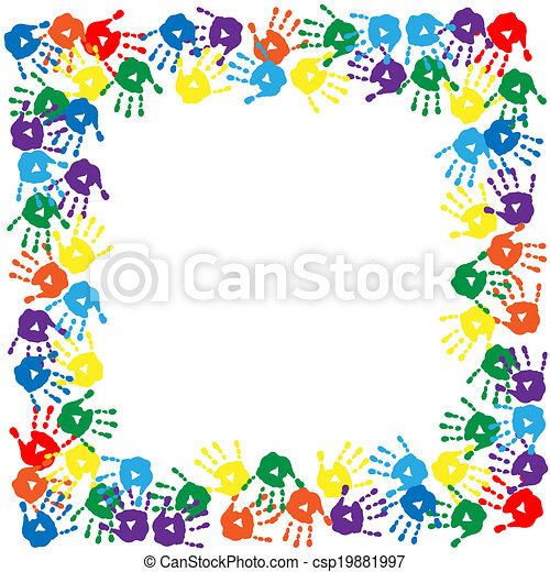 Frame of colorful hand prints - csp19881997