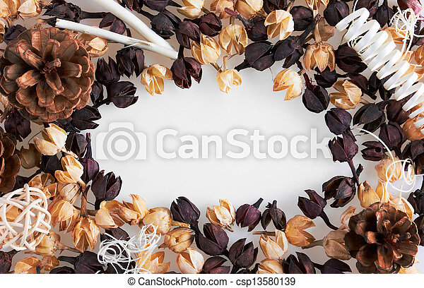 Frame of dried flowers - csp13580139