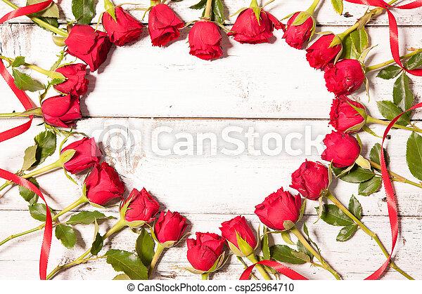 Frame of fresh roses - csp25964710
