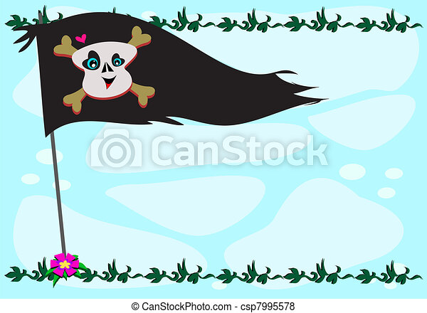 Frame of Pirate Flag and Plants - csp7995578