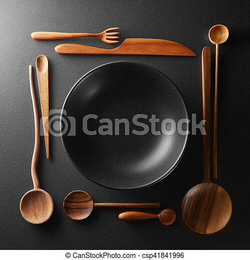 frame of setting empty plate and wooden cutlery - csp41841996