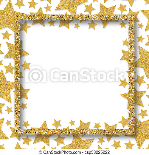 6833e1d7a614 Frame of shiny gold metal hearts. glitter powder border for st.valentine s  day.