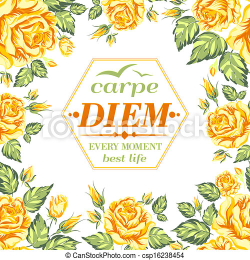 Frame of yellow roses on a white background - csp16238454