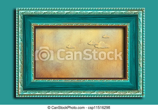 Frame on a vintage blue wall. - csp11516298
