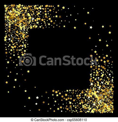 Frame or border of stars Square corner gold frame or border