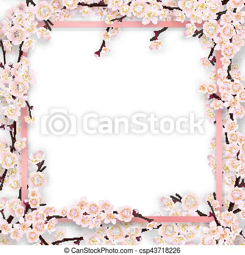 pink frame overgrown sakura tree branches with blossom flowers