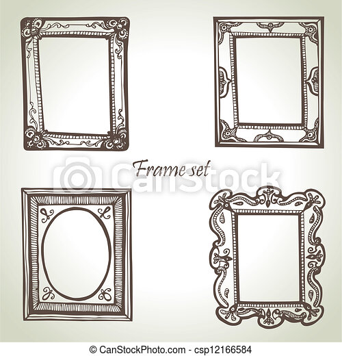 Frame set. Hand drawn illustrations - csp12166584