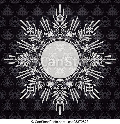 frame, sierlijk, grijze , achtergrond, textured, grens - csp28372877