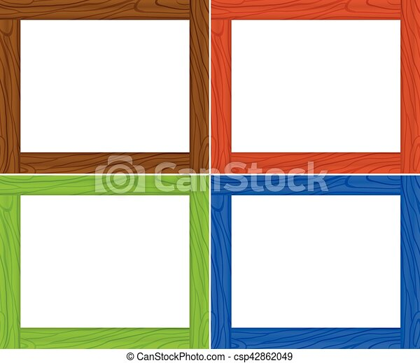 Frame template in four colors illustration.