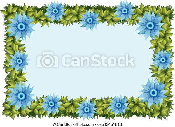 Frame template with blue flowers - csp43451818