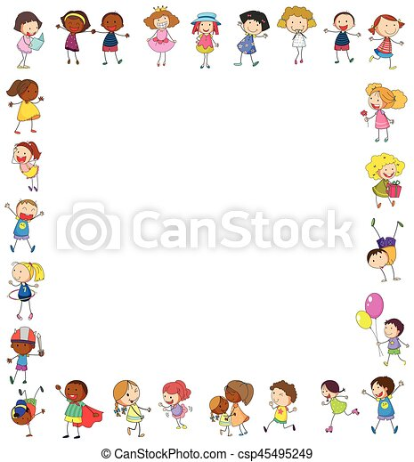 frame template with happy children illustration