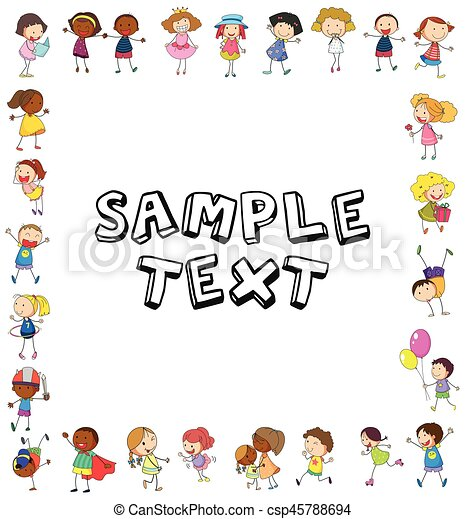 frame template with happy kids illustration