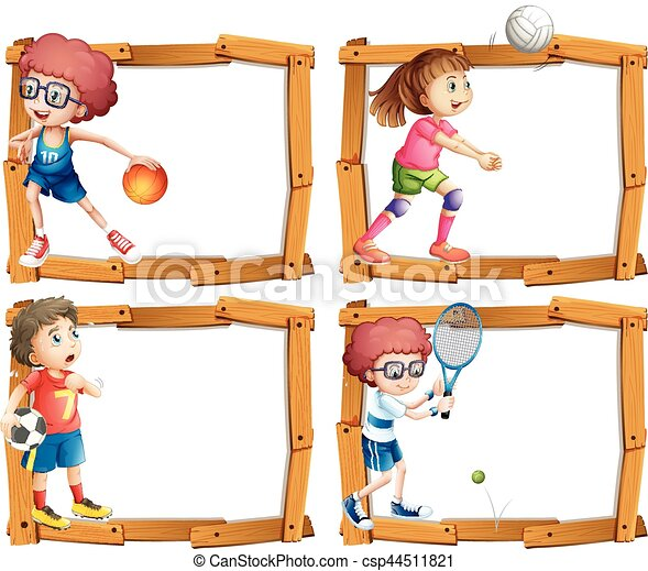 Frame template with kids playing sports - csp44511821