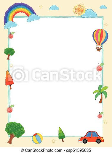 frame template with summer holiday theme illustration