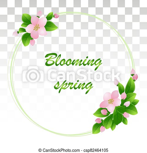 frame vector card with bouquet of pink flowers blooming branches of cherry, botanical nature illustration .Vector illustration .EPS10. - csp82464105