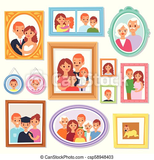 Frame vector framing picture or family photo on wall for decoration  illustration set of vintage decorative border for photography with kids and
