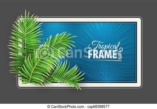 Un marco tropical. Diseño de diseño. Hojas de palma verde. Vector. - csp68398577