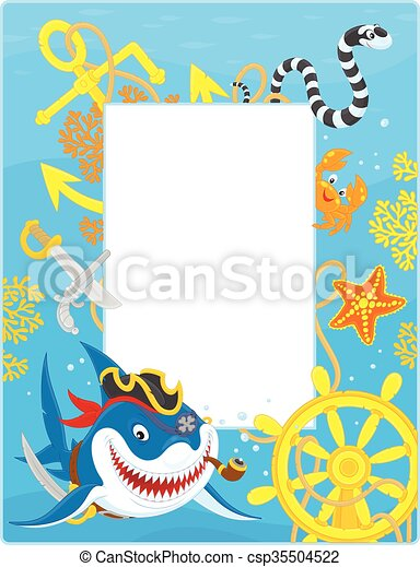 Frame with a pirate shark. Vector vertical frame border with ...