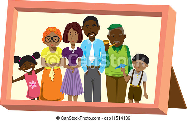 Frame With African Family Portrait Vector