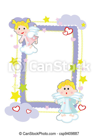 Frame with angels, vector. - csp9409887