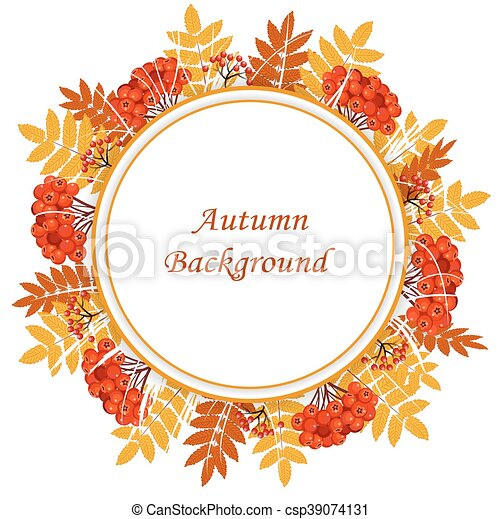 aee7d9644ff Frame with autumn leaves and berries. Beautiful autumn background ...