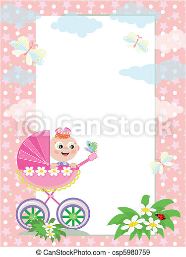Frame with baby girl in carriage.