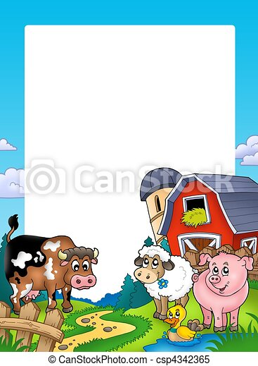 Frame with barn and farm animals - csp4342365