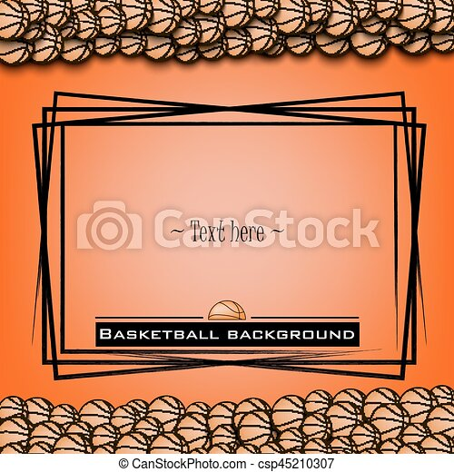 Frame with basketball balls on a orange background. vector illustration.